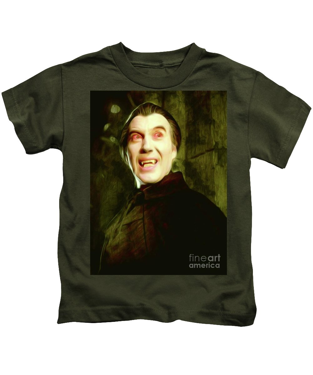 Christopher Kids T-Shirt featuring the digital art Christopher Lee, Dracula by Mary Bassett