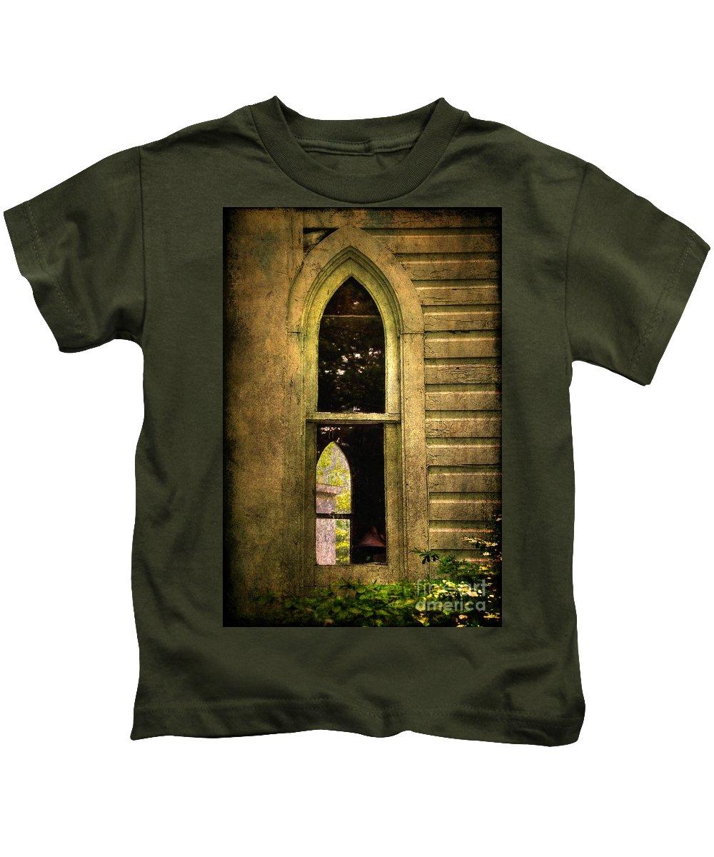 Church Kids T-Shirt featuring the photograph Church Window Church Bell by Lois Bryan