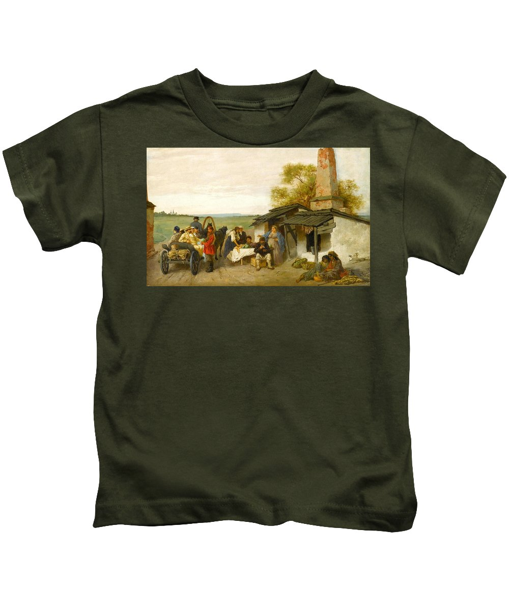Konstantin Alexandrovich Trutovsky (kursk Kids T-Shirt featuring the painting City Travellers Being Offered Fruit by Alexandrovich