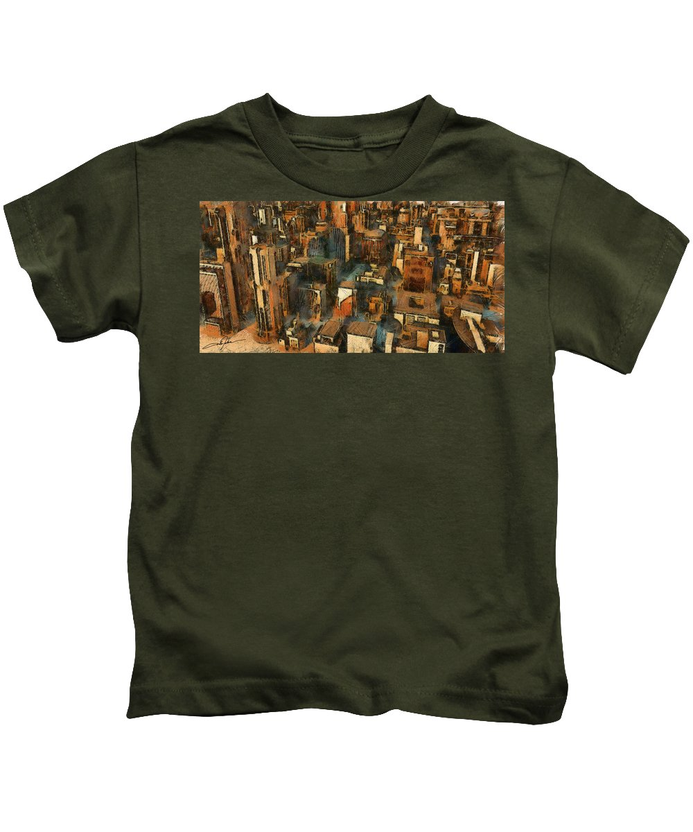 City Kids T-Shirt featuring the digital art Cityscape by Dale Jackson