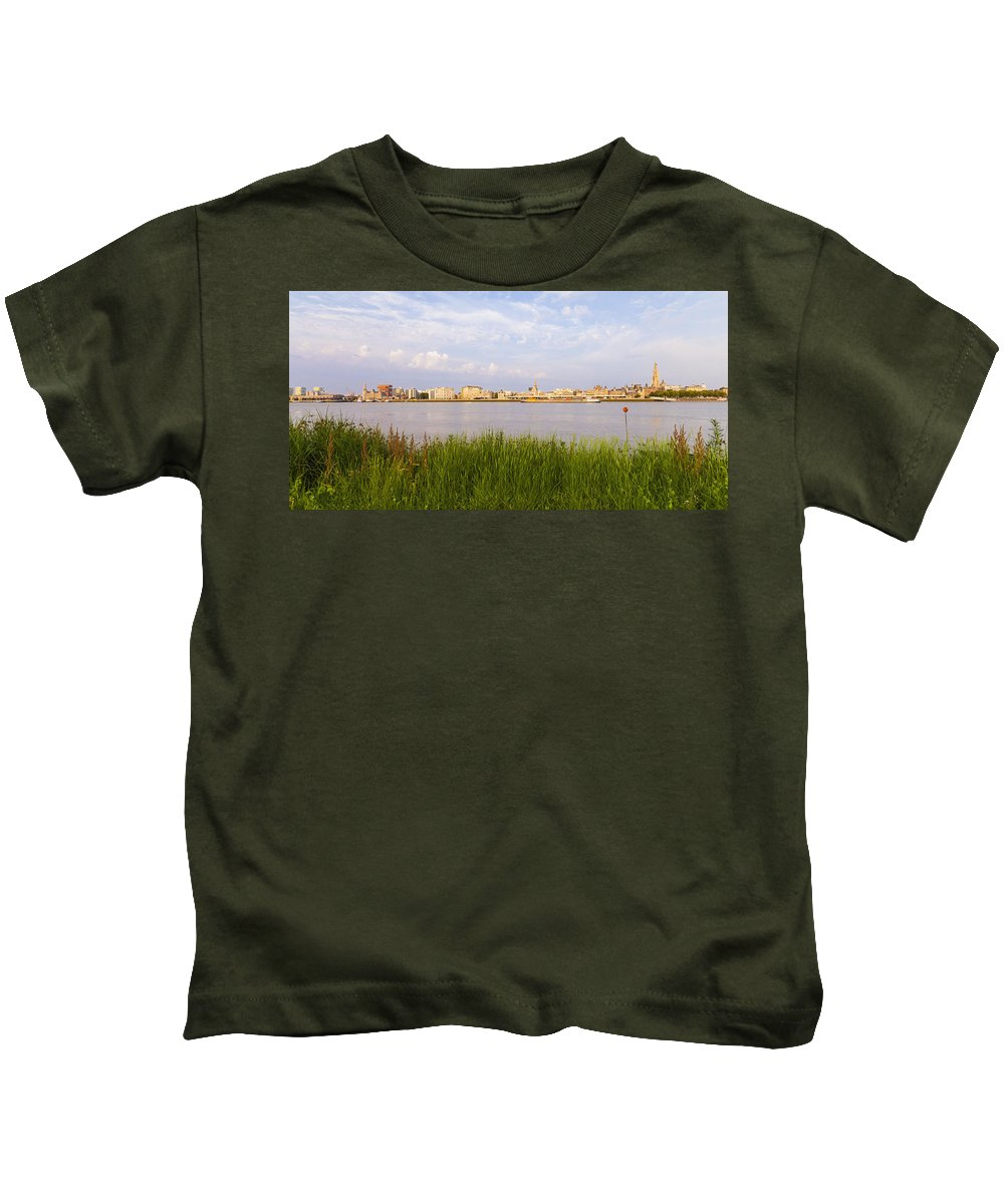 City Kids T-Shirt featuring the photograph Cityscape Of Antwerp by Werner Dieterich