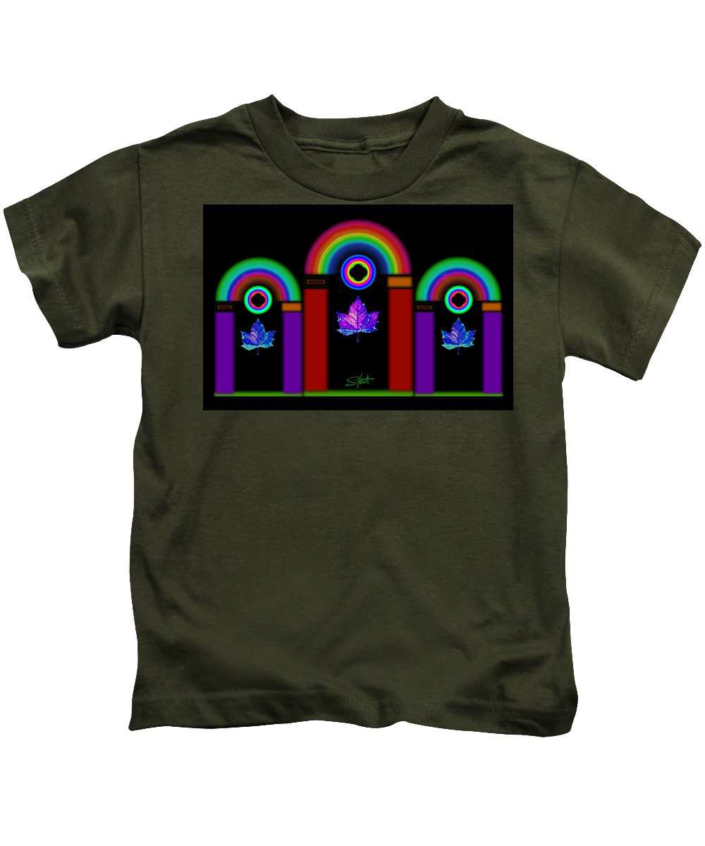 Classical Kids T-Shirt featuring the painting Classical Neon by Charles Stuart