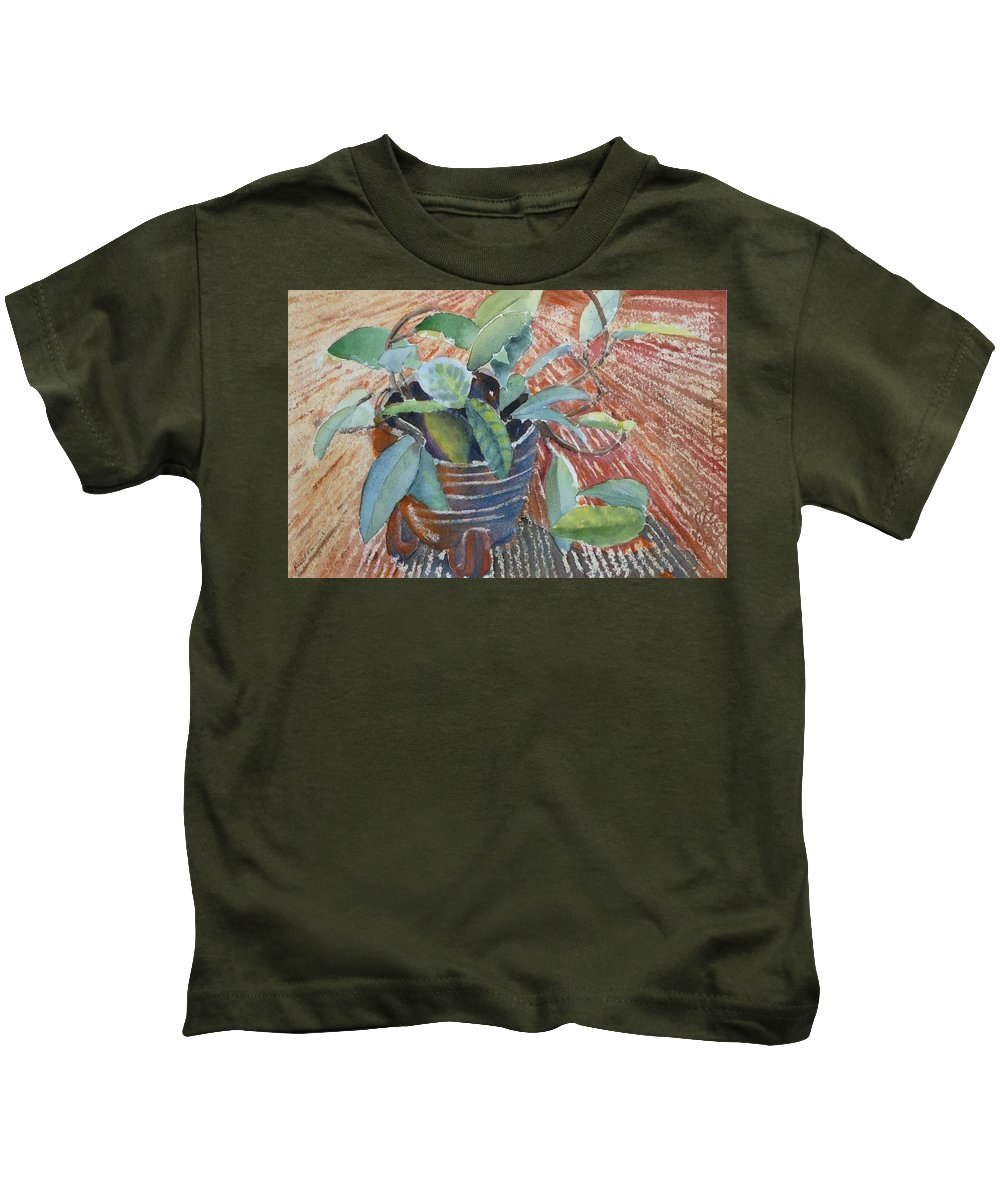 Vine Kids T-Shirt featuring the painting Clay Pot by Ruth Kamenev
