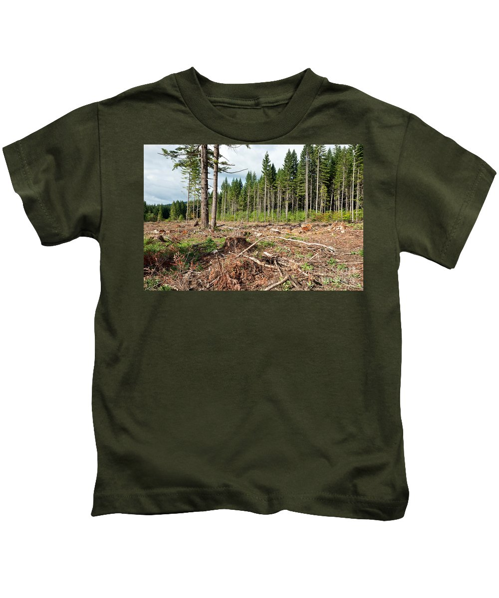 Clear Cut Kids T-Shirt featuring the photograph Clearcut, Douglas Fir Forest by Inga Spence