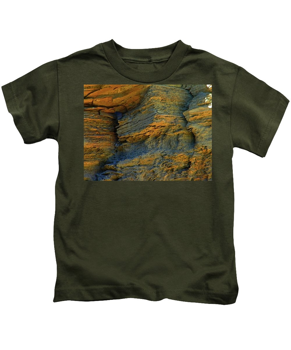 Abstract Kids T-Shirt featuring the photograph Cliffs In The City For The Swallows by Lenore Senior