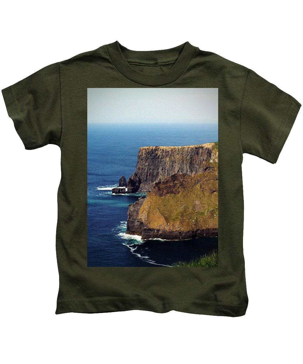 Irish Kids T-Shirt featuring the photograph Cliffs Of Moher Ireland View Of Aill Na Searrach by Teresa Mucha