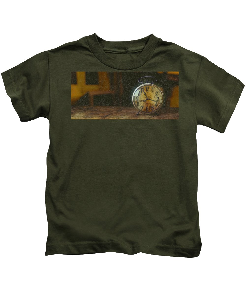 Old Kids T-Shirt featuring the painting Clock - Id 16218-130715-1843 by S Lurk