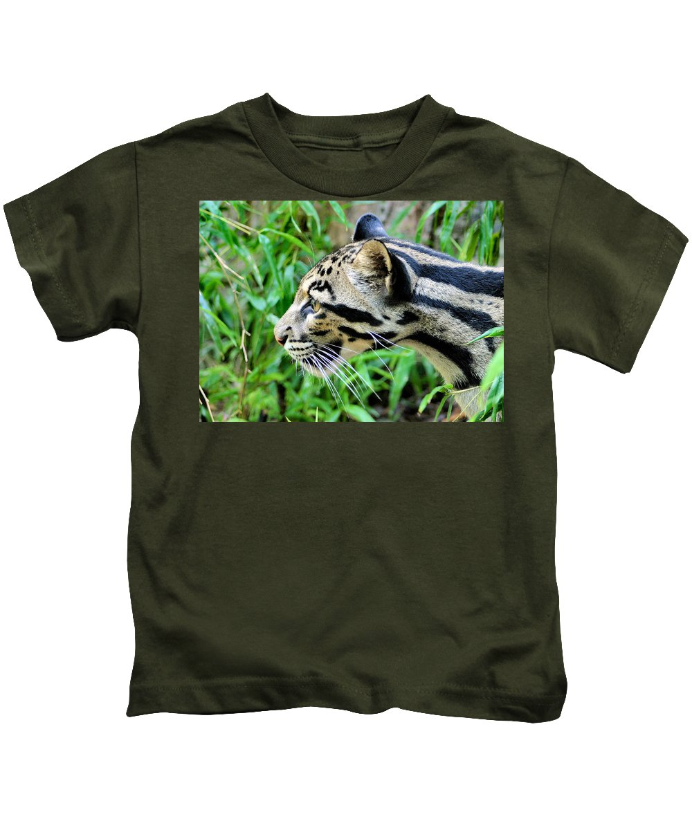 Clouded Leopard Kids T-Shirt featuring the photograph Clouded Leopard In The Grass by Kristin Elmquist