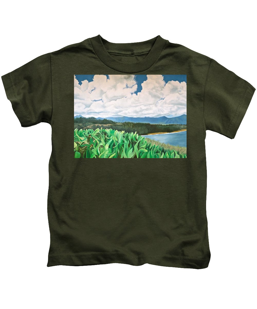 Kauai Kids T-Shirt featuring the painting Clouds Over Kauai by Janice Petrella-Walsh