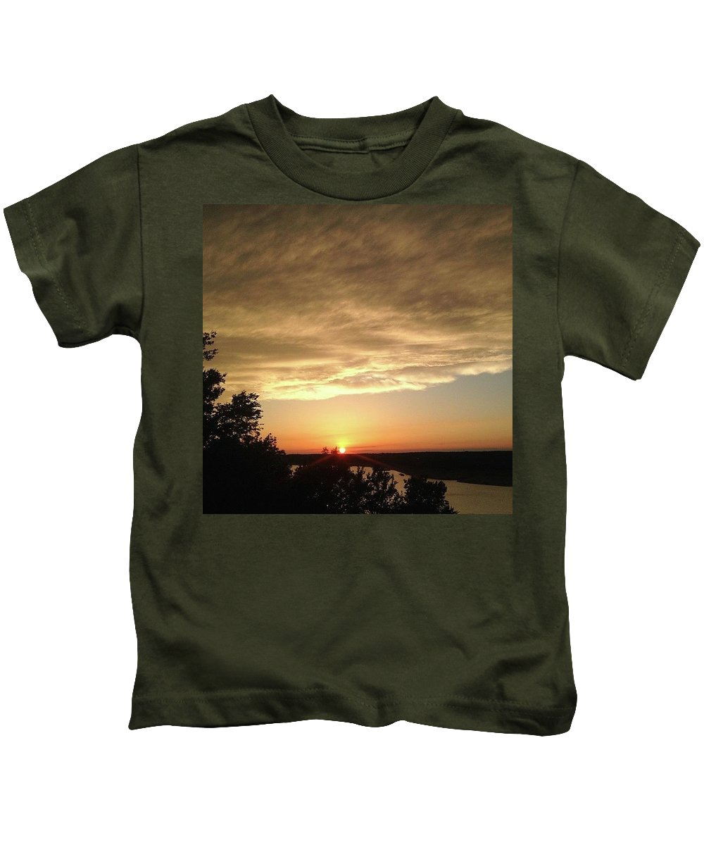 Cloudy Kids T-Shirt featuring the photograph Cloudy Sunset by Claire Kenney
