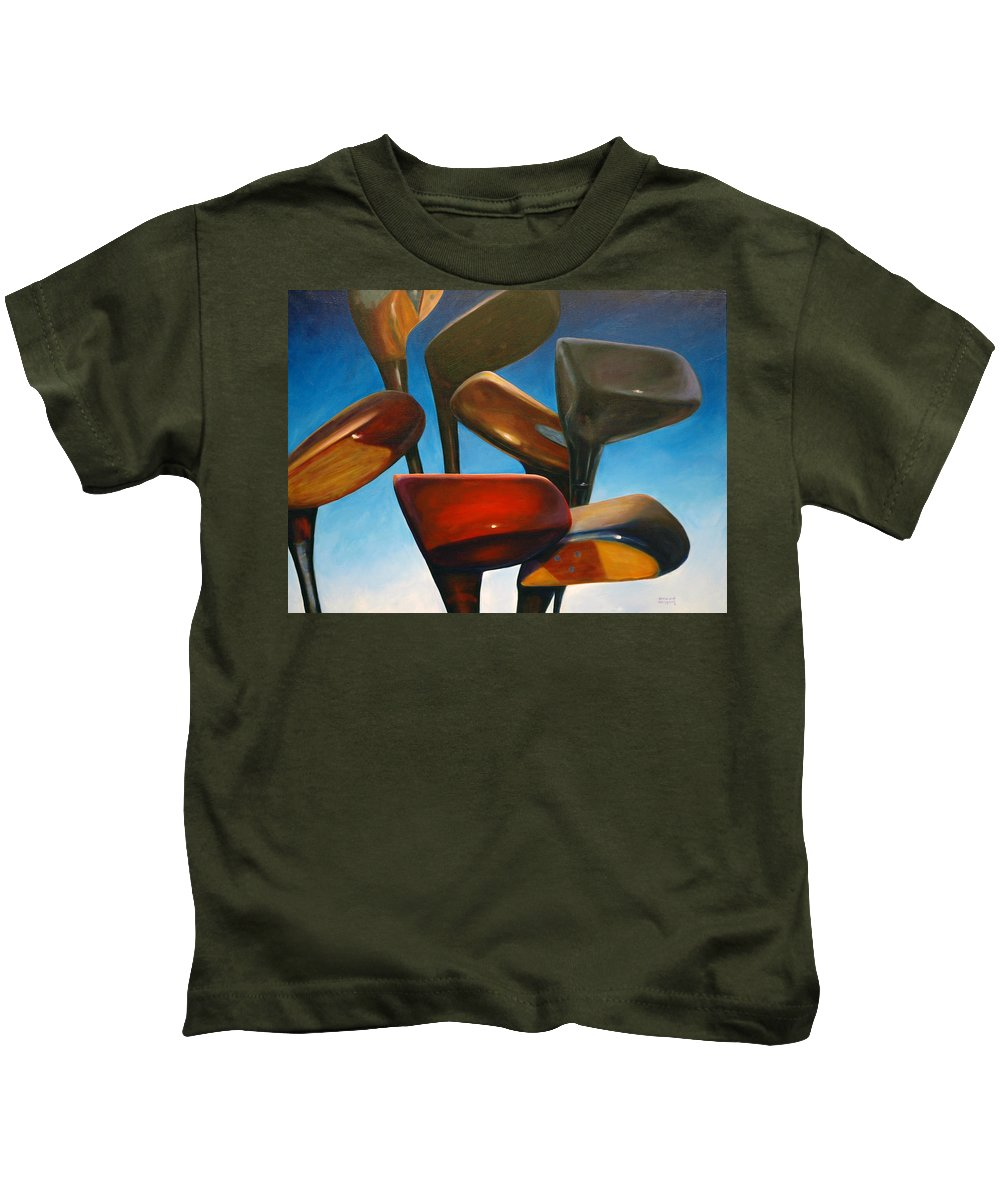 Golf Clubs Brown Kids T-Shirt featuring the painting Clubs Rising by Shannon Grissom