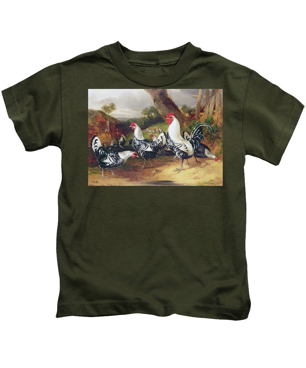 Cockerels Kids T-Shirt featuring the painting Cockerels In A Landscape by William Joseph Shayer