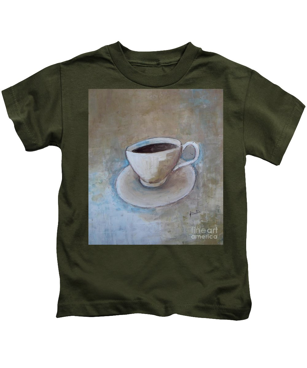 Restaurant Kids T-Shirt featuring the painting Coffee by Vesna Antic