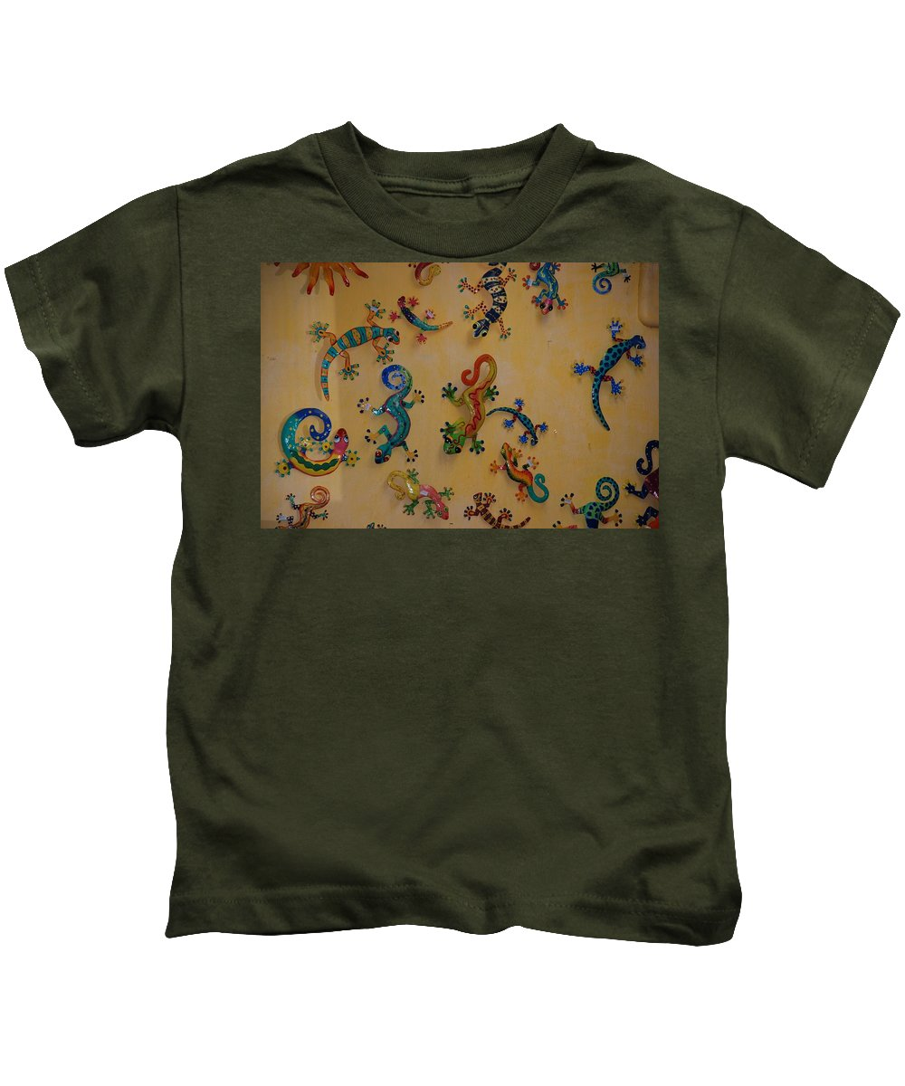 Pop Art Kids T-Shirt featuring the photograph Color Lizards On The Wall by Rob Hans