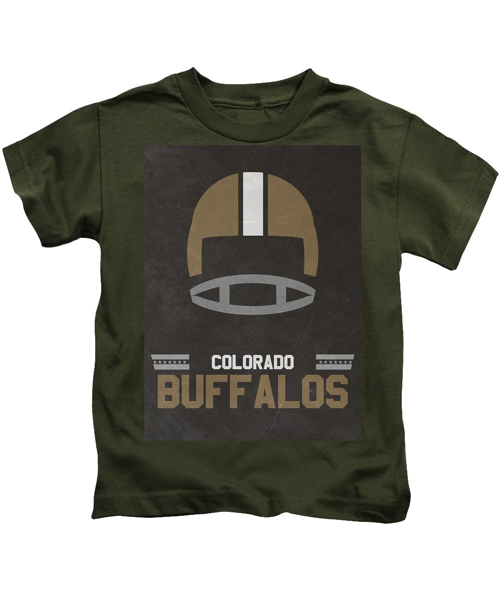 Buffalos Kids T-Shirt featuring the mixed media Colorado Buffalos Vintage Football Art by Joe Hamilton