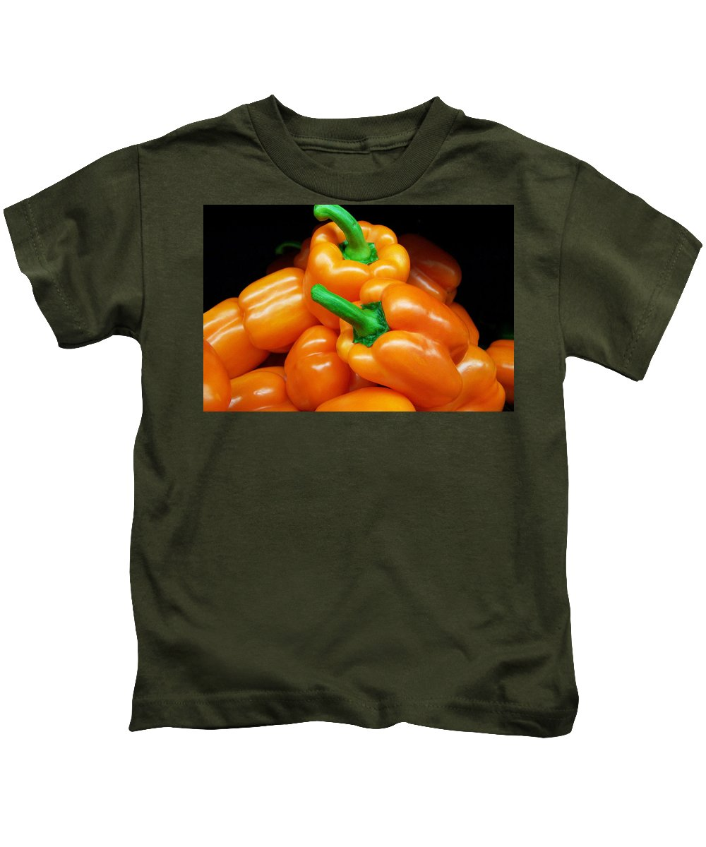 Bright Kids T-Shirt featuring the photograph Colorful Orange Bell Peppers by Kathy Clark