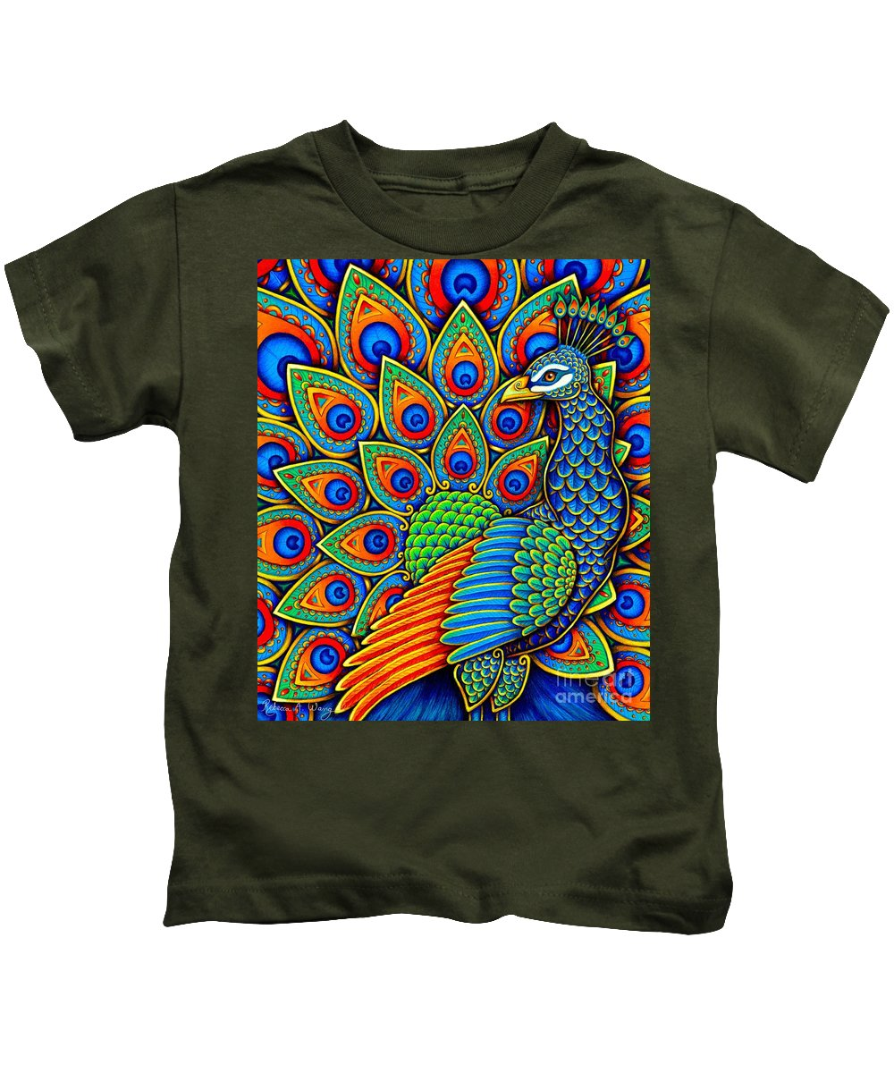 Peacock Kids T-Shirt featuring the drawing Colorful Paisley Peacock by Rebecca Wang