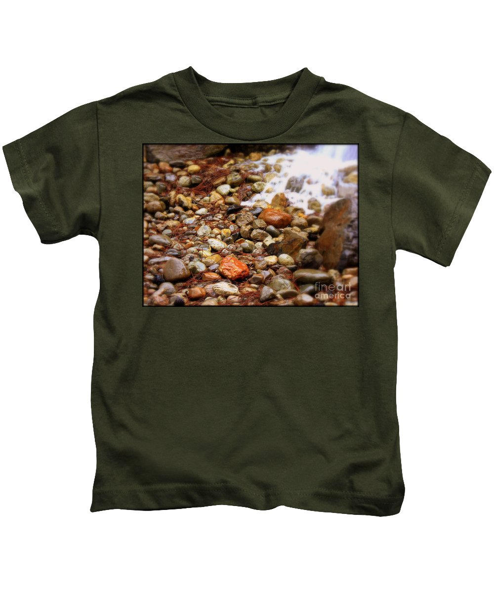 Nature Kids T-Shirt featuring the photograph Colorful Rocks With Waterfall by Carol Groenen