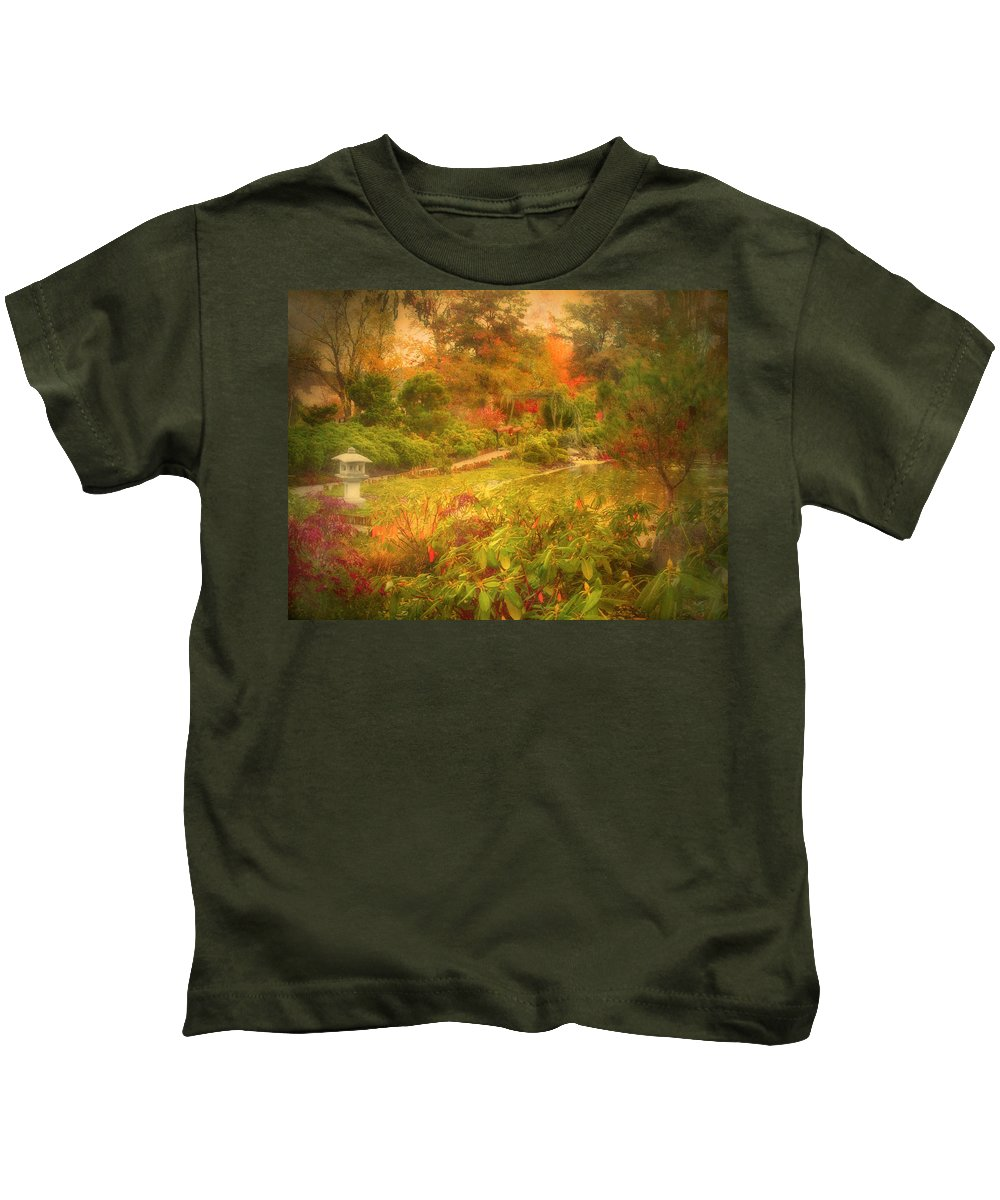Autumn Kids T-Shirt featuring the photograph Colour Explosion In The Japanese Gardens by Tara Turner