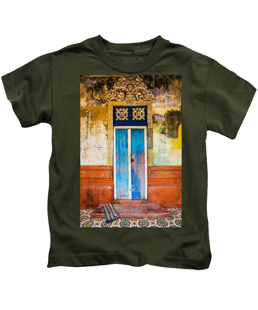 Cambodia Kids T-Shirt featuring the photograph Colourful Door by Dave Bowman