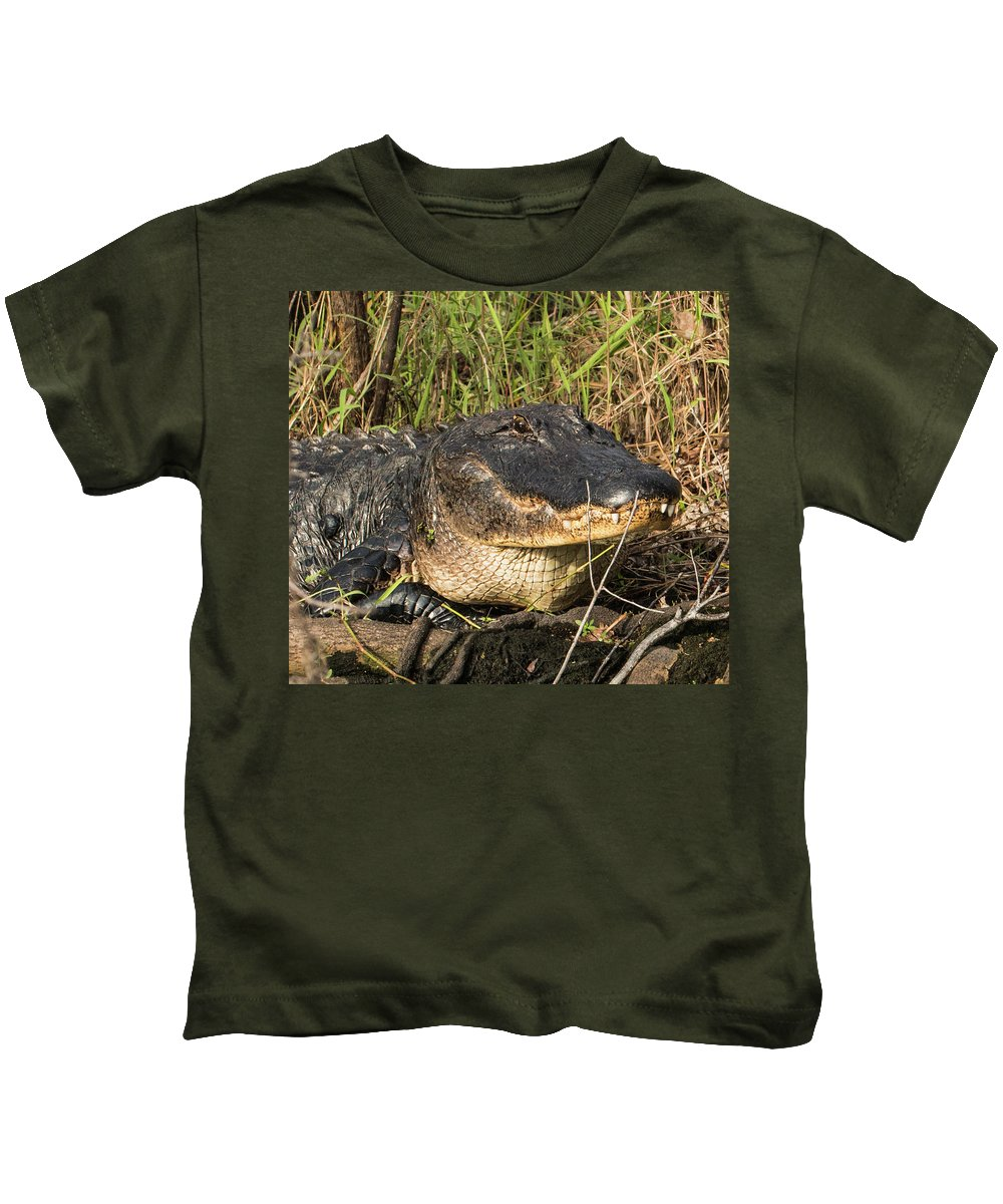 Alligator Kids T-Shirt featuring the photograph Come On Over by Edie Ann Mendenhall