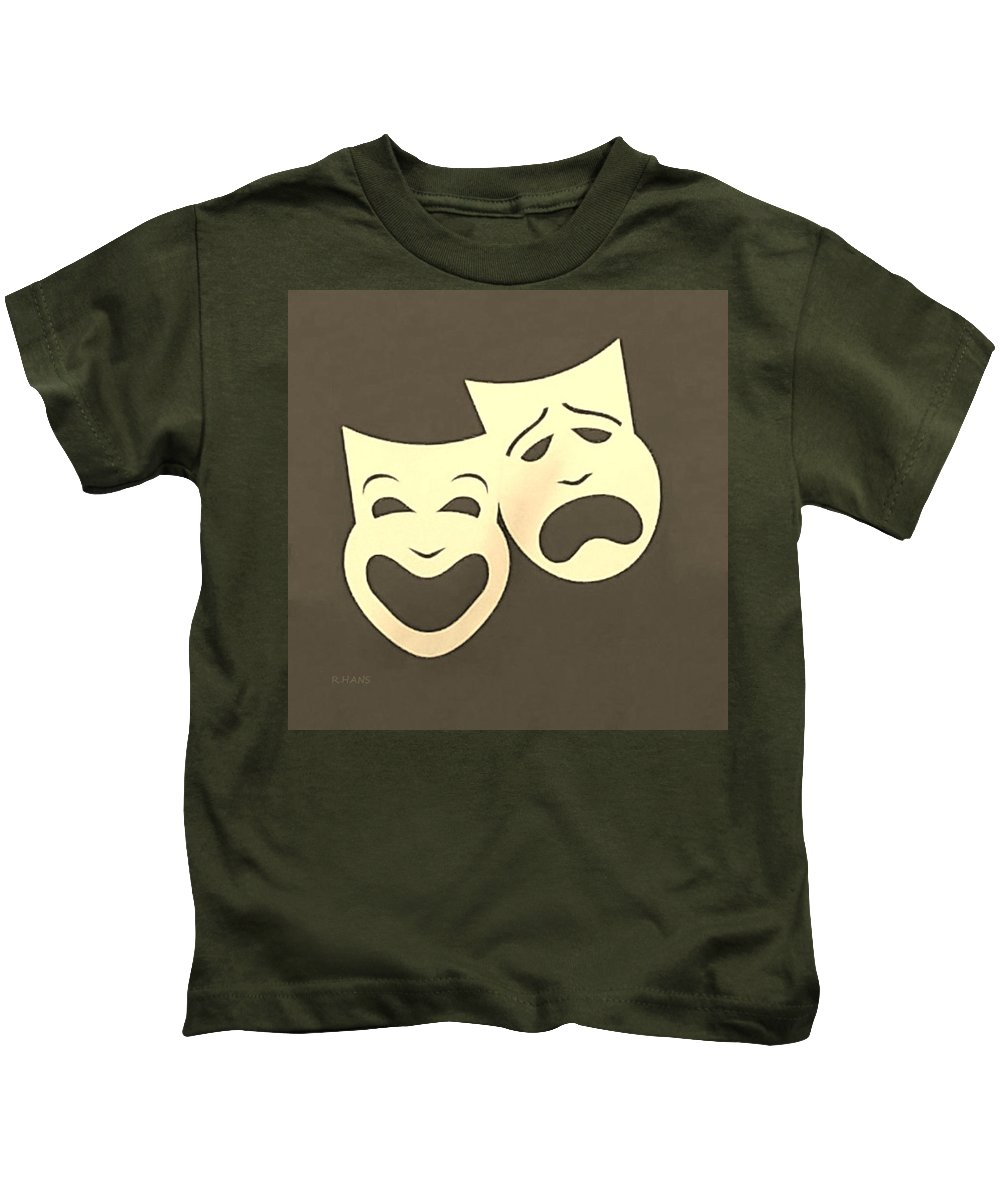 Comedy And Tragedy Kids T-Shirt featuring the photograph Comedy N Tragedy Sepia by Rob Hans