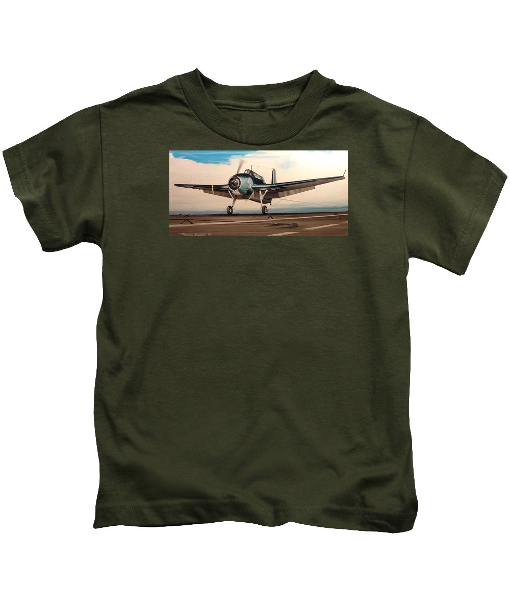 Painting Kids T-Shirt featuring the painting Coming Aboard by Marc Stewart