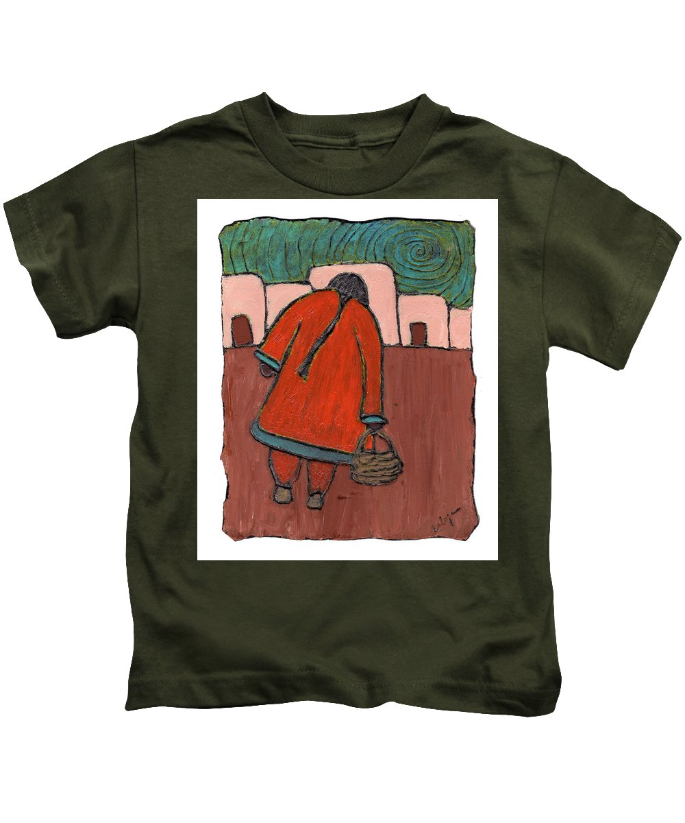 Southwest Kids T-Shirt featuring the painting Coming Home by Wayne Potrafka