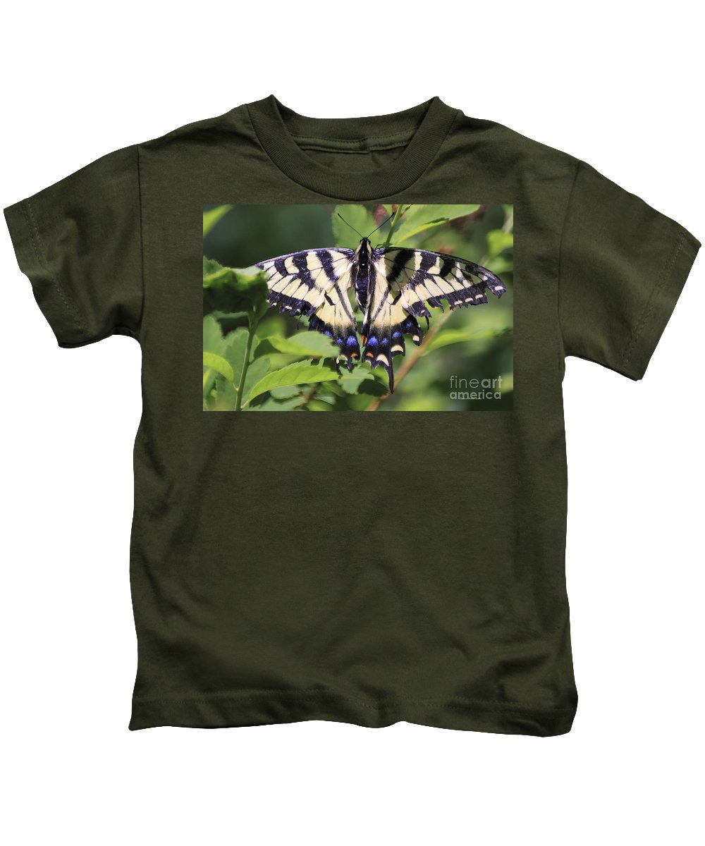 Butterfly Kids T-Shirt featuring the photograph Common Yellow Swallowtail by Deborah Benoit