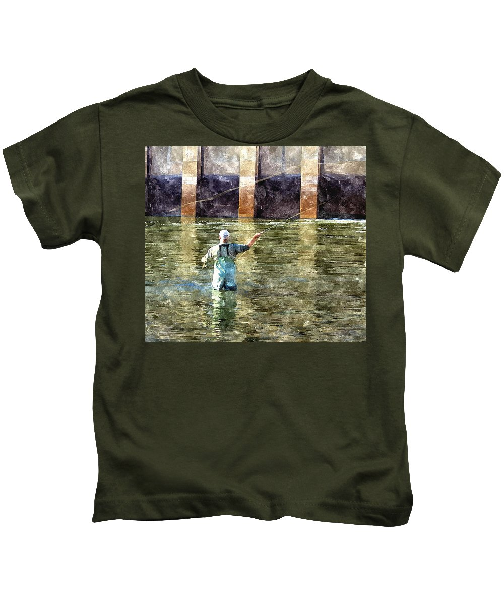 Fly Fishing Kids T-Shirt featuring the digital art Concentration by Harry Tart