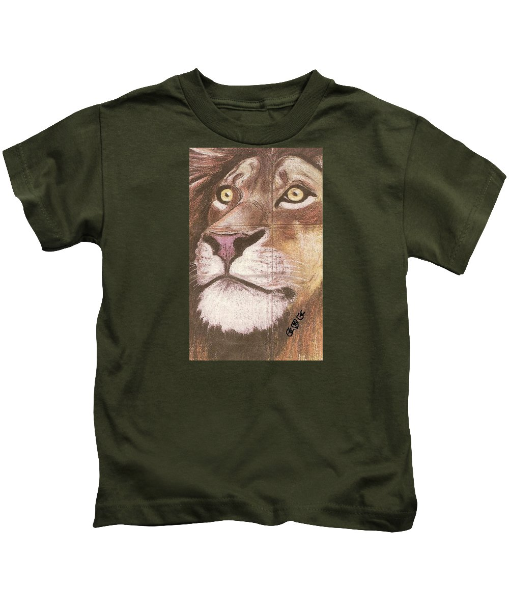Lions Kids T-Shirt featuring the painting Concrete Lion by George I Perez