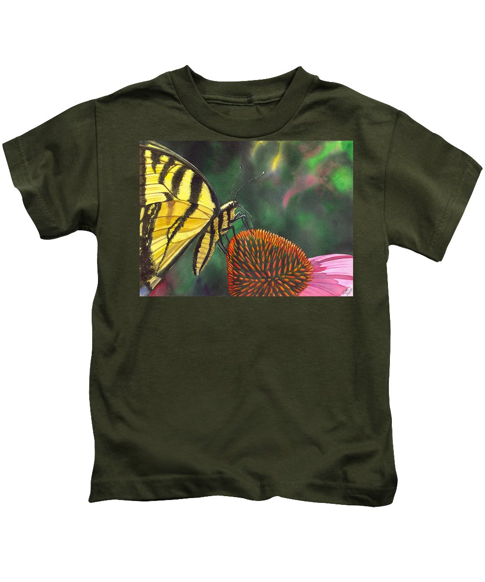 Butterfly Kids T-Shirt featuring the painting Cone Flower by Catherine G McElroy