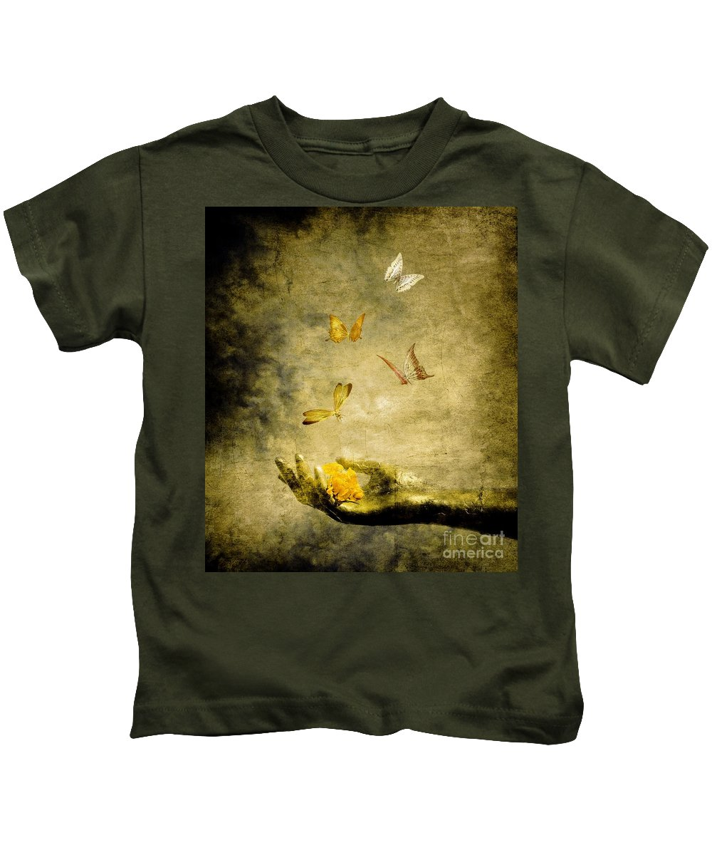 Inspirational Kids T-Shirt featuring the painting Connect by Jacky Gerritsen