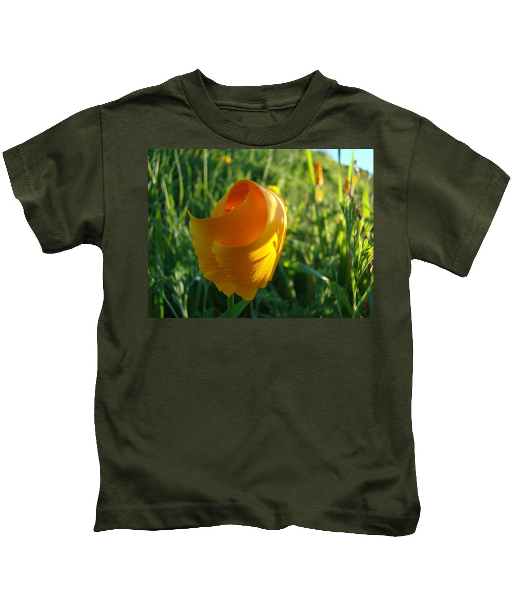 �poppies Artwork� Kids T-Shirt featuring the photograph Contemporary Orange Poppy Flower Unfolding In Sunlight 10 Baslee Troutman by Baslee Troutman