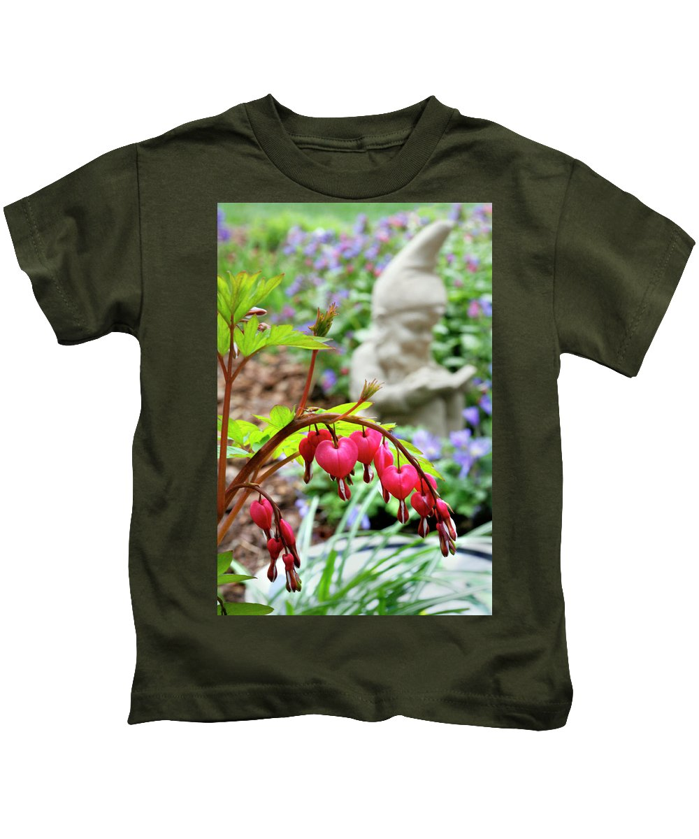 Sweet Kids T-Shirt featuring the photograph Content Gnome With Bleeding Hearts by Marilyn Hunt