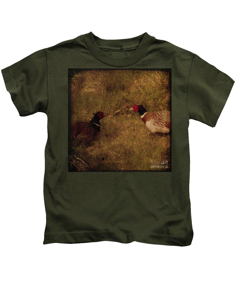 Pheasant Kids T-Shirt featuring the photograph Conversations by Angel Ciesniarska