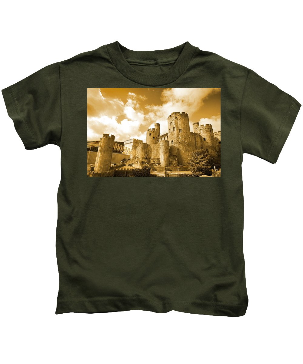 Castle Kids T-Shirt featuring the photograph Conwy Castle And The Telford Suspension Bridge North Wales by Mal Bray