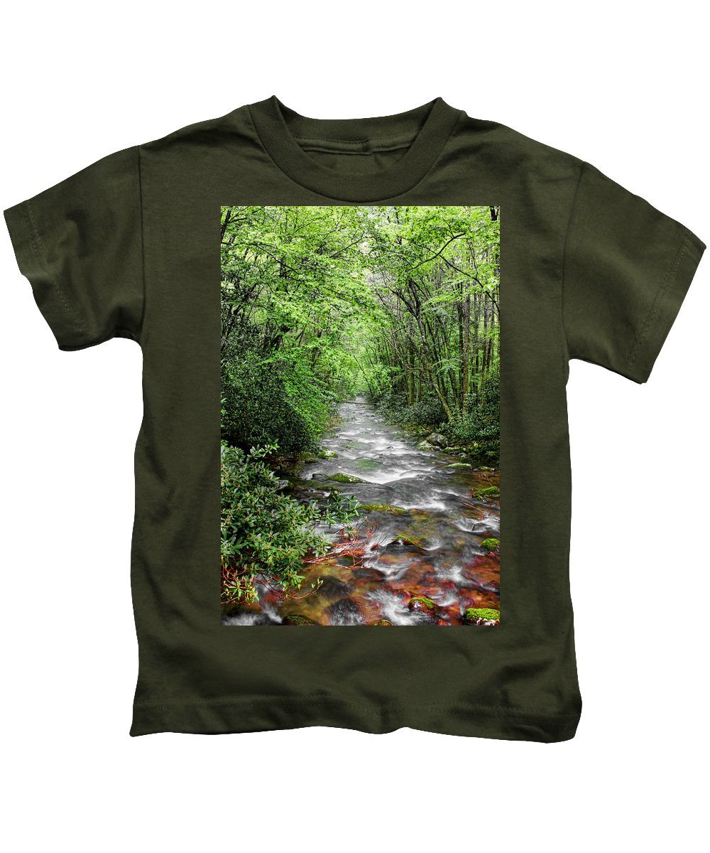 Water Green Stream Creek Flowing Water Park Nature Wild River Trees Forest Kids T-Shirt featuring the photograph Cool Green Stream by Shari Jardina