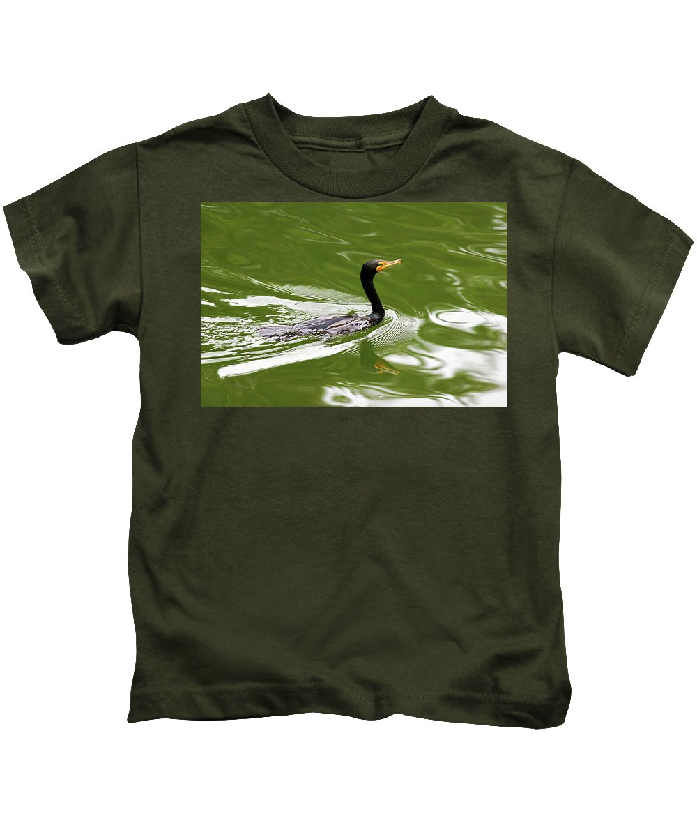 Double-crested Cormorant Kids T-Shirt featuring the photograph Cormorant by Randall Ingalls