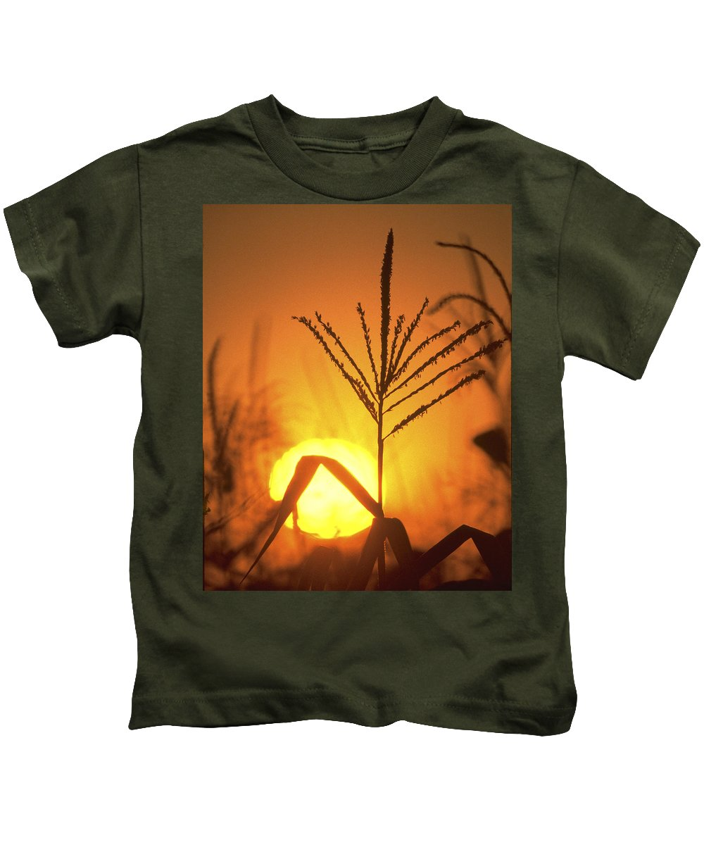 Corn Kids T-Shirt featuring the photograph Cornfield Sunset by Garry McMichael