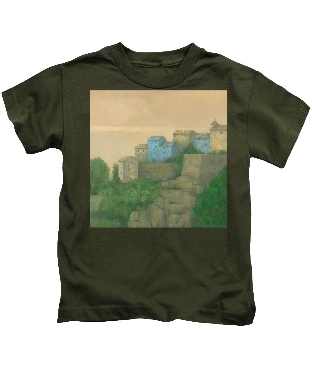 Landscape Kids T-Shirt featuring the painting Corsican Hill Top Village by Steve Mitchell