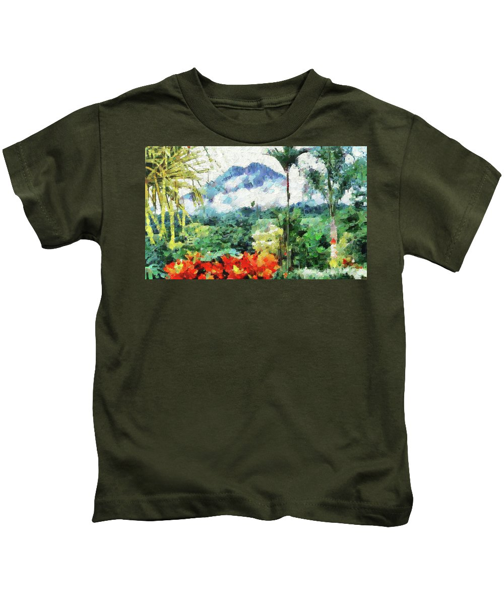 Digital Painting Kids T-Shirt featuring the photograph Costa Rica Paradise by Mario Carini