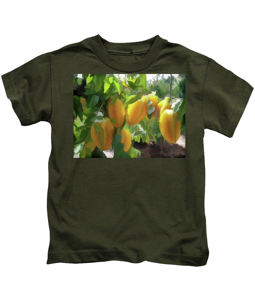 Star Apple Fruit On The Tree Kids T-Shirt featuring the painting Costa Rica Star Fruit Known As Carambola by Jeelan Clark