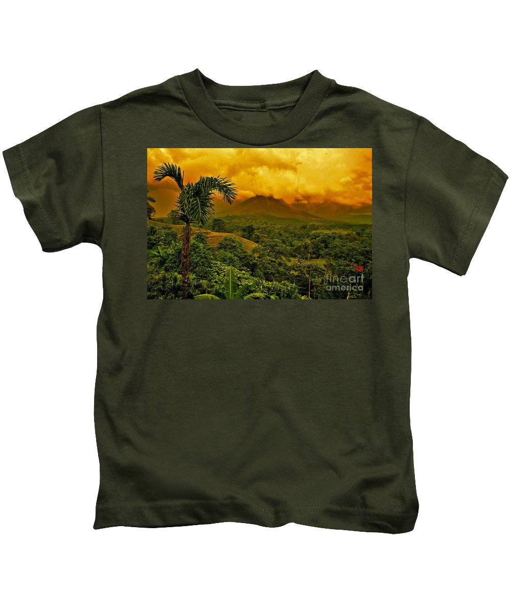 Volcanic Kids T-Shirt featuring the photograph Costa Rica Volcano by Madeline Ellis
