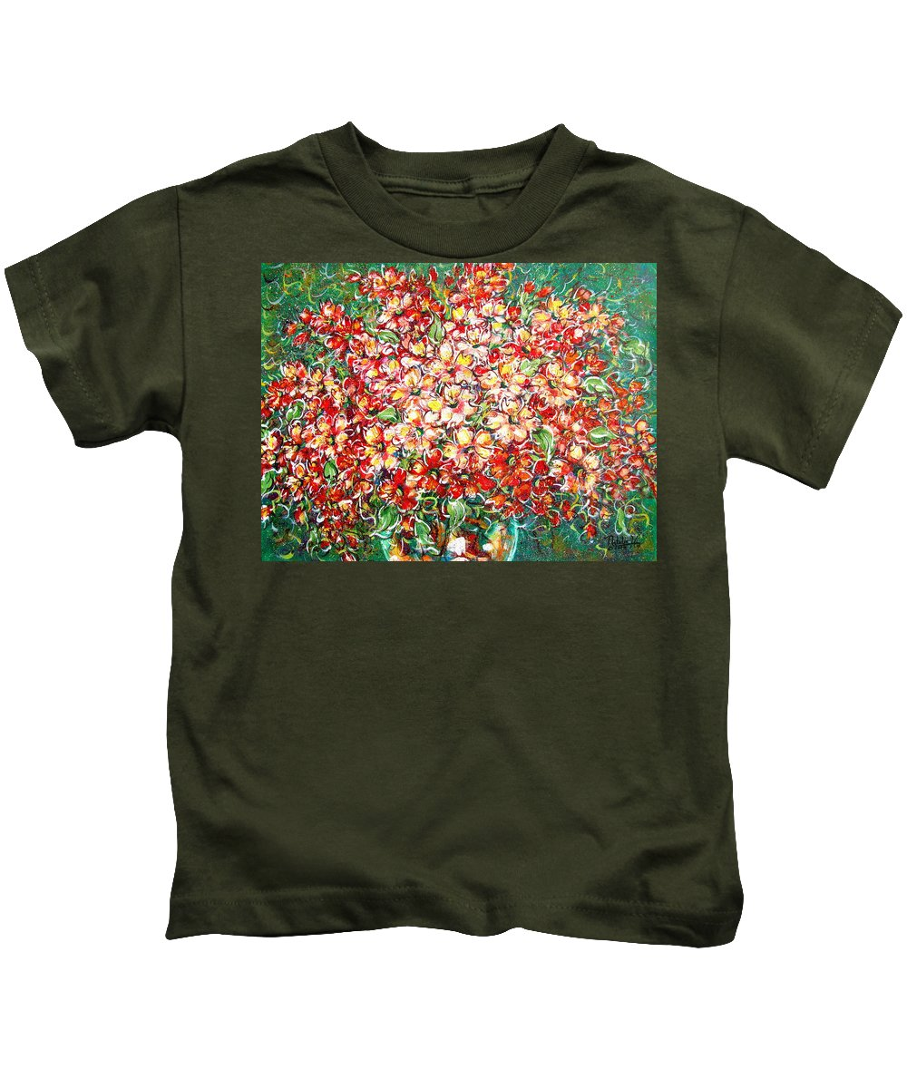 Flowers Kids T-Shirt featuring the painting Cottage Garden Flowers by Natalie Holland