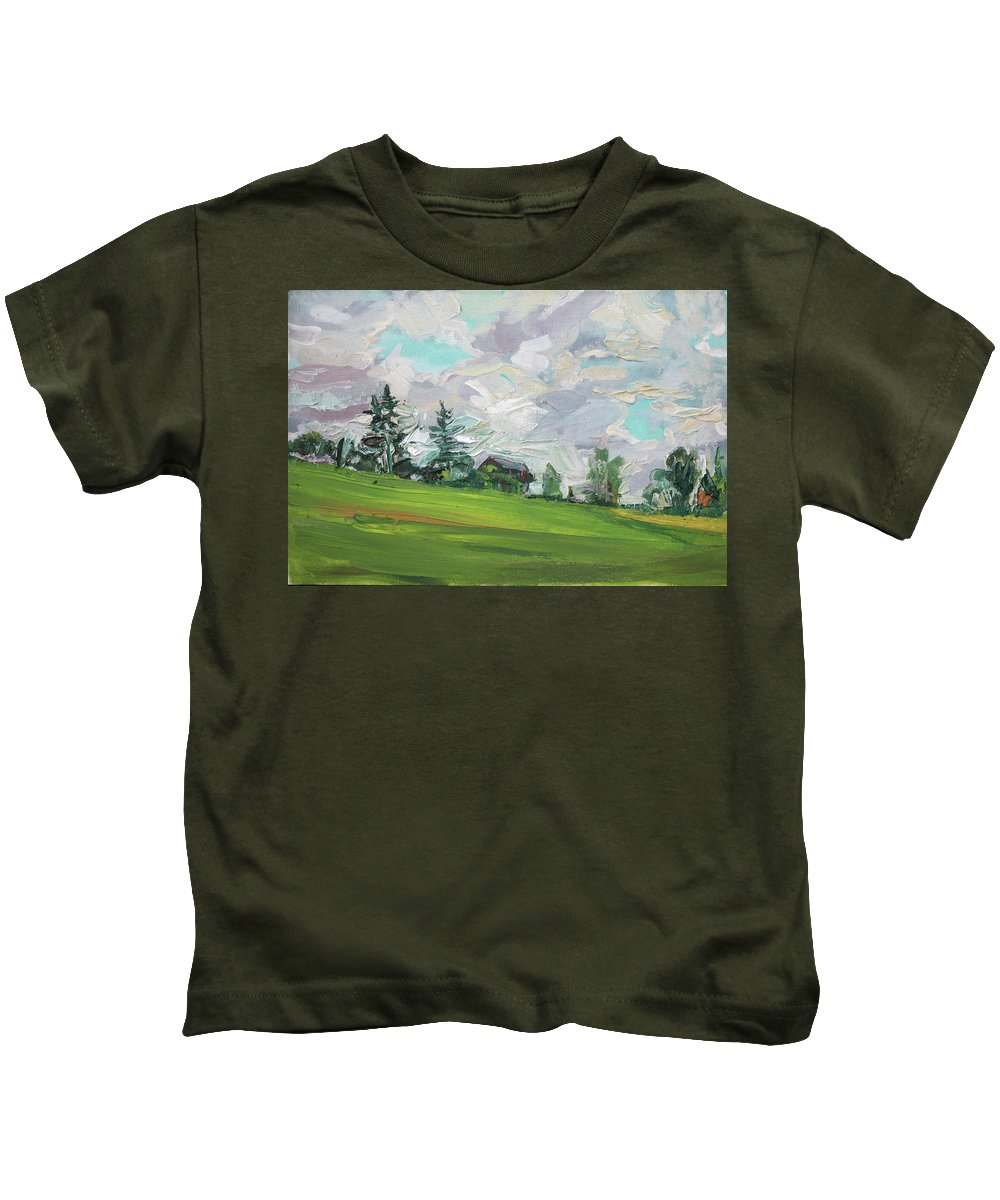Summer Kids T-Shirt featuring the painting Cottage On The Hill by Andrei Belevich