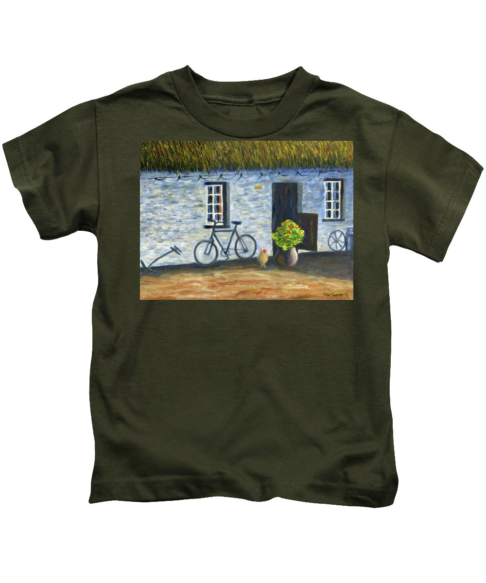 Cottage Kids T-Shirt featuring the painting Cottage Life by Stan Sweeney