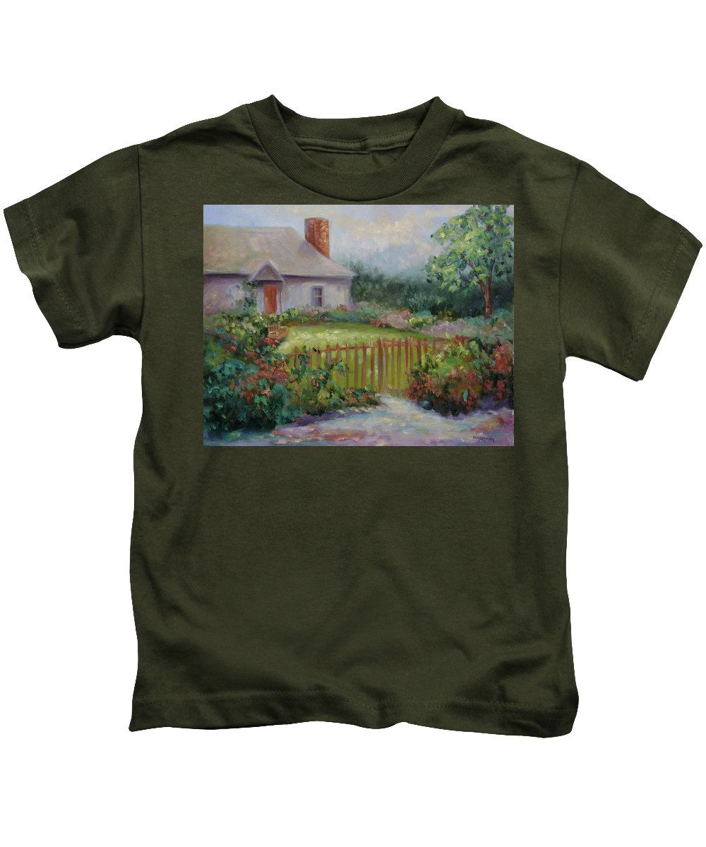 Cottswold Kids T-Shirt featuring the painting Cottswold Cottage by Ginger Concepcion