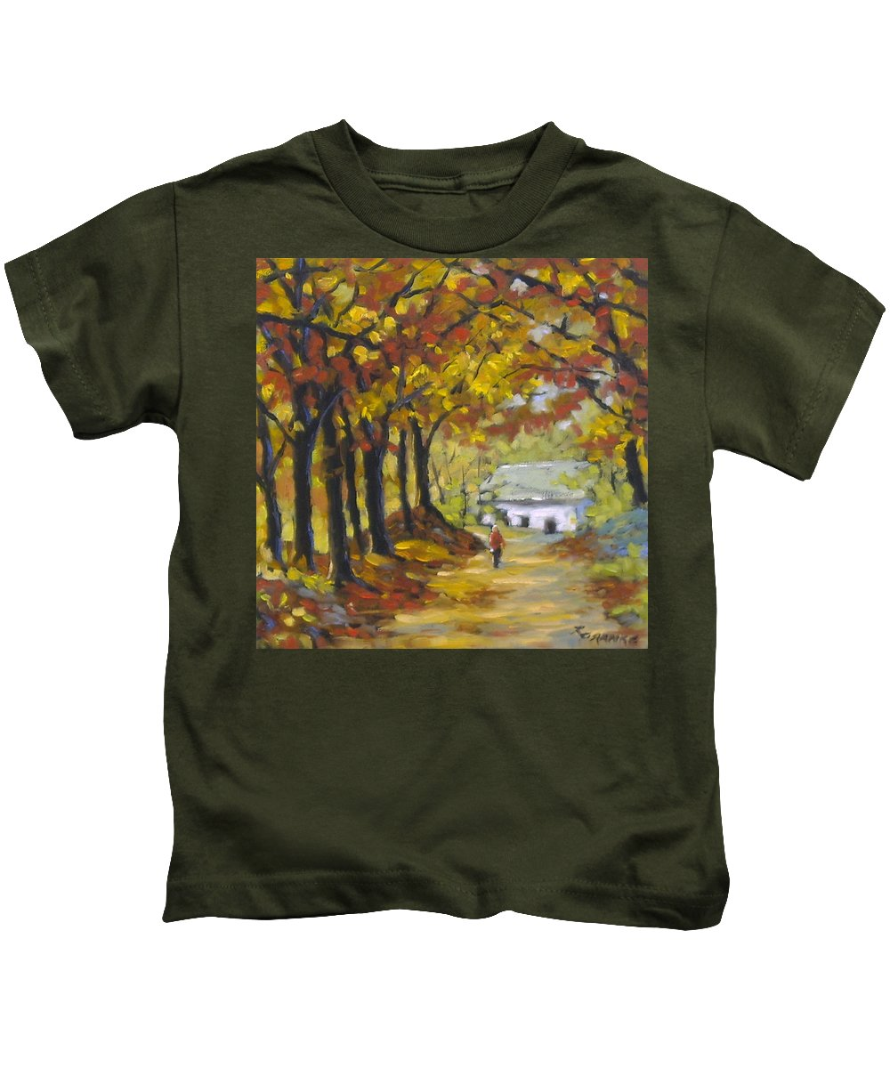 Art Kids T-Shirt featuring the painting Country Lane by Richard T Pranke