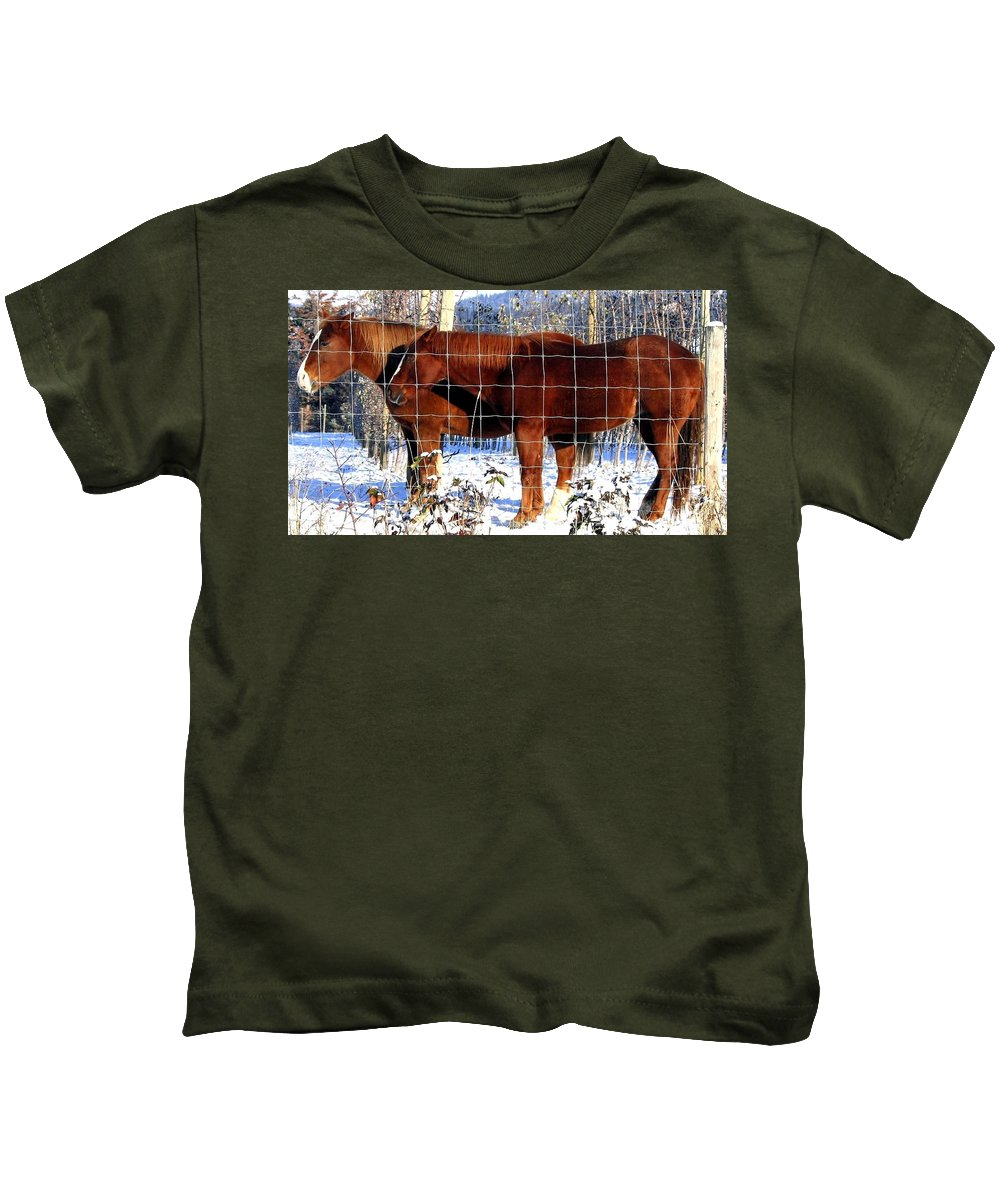 Horses Kids T-Shirt featuring the photograph Country Pals by Will Borden